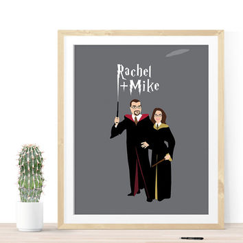 Harry Potter Couple Portrait, Harry Potter Art, Harry Potter Wedding Gift, Anniversary Gift, Gifts for Men, Gift for couple, Fun Gift