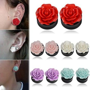 ac DCCKO2Q 1Pair Rose Acrylic Double Saddle Ear Plugs Fashion r Ear Gauge Plugs Tunnels Stretcher Expander For Women Jewelry 8mm-25mm