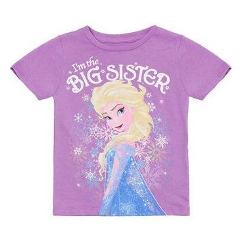 Disney Frozen Elsa I'm The Big Sister NWT Little Girl's T-Shirt