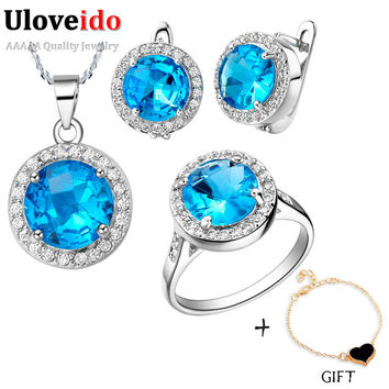 Uloveido Bridal Wedding Jewelry Set for Women Earrings Necklace Ring with Blue Created Sapphire CZ Diamond Accessories T011