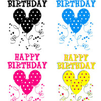 happy birthday words text balloons clipart png jpg digital download graphics images printables 4 colors black red blue yellow