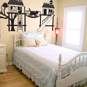 Vinyl Wall Decal Sticker Cat House #OS_DC350