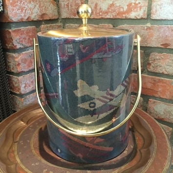 Kraftware Ice Bucket Airplane Motif Vintage Green and Gold Extra Tall