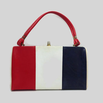 60s Purse / Red White and Blue Mod Purse / Leather Kelly Bag