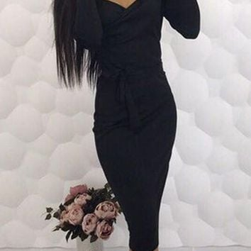 Black Sashes V-neck Long Sleeve Fashion Midi Dress