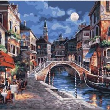 Latest gift craft Frameless diy Oil Painting Moonlight town canvas Digital On Canvas by numbers painting Home decorative