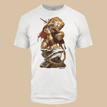 Tiger Warrior White Tri-Blend T-Shirt