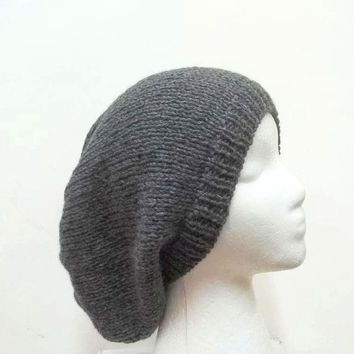 Gray slouchy beanie hat large size hand knitted  mens hat or womens hat 5215