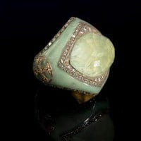 Green Enamel, Prenite & Diamond Ring
