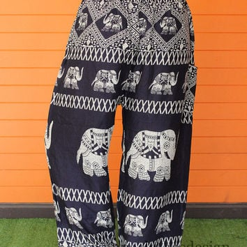 Unisex Long Elephant Yoga Black grey stripes Pants Harem pants Boho Printed design Elastic Rope waist Comfy Pants Thailand.