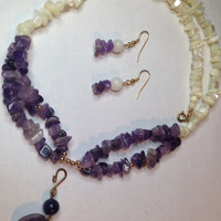 Amethyst and Mother of Pearl Necklace with Removable Amethyst Pendant and matching Earrings