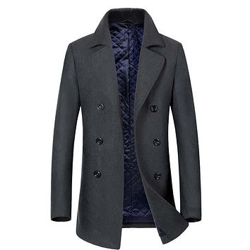 New 2017 Winter Men Wool Trench Coat Men Long Trench Slim Fit Overcoat High Quality Men Coats Fashion Trench Outerwear hot