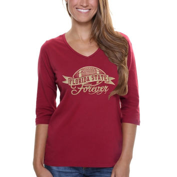 Florida State Seminoles :FSU: Ladies Bling Football Three-Quarter Length V-Neck T-Shirt -  Garnet
