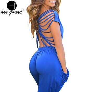 Rompers Womens Jumpsuit 2015 Summer Style Sexy Backless Full Length Pockets Ladies Bodysuit Overall Macacao Feminino WKL489