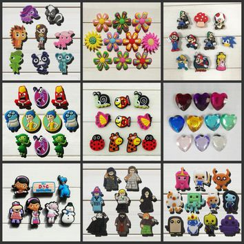 6-10pcs Mickey Monster Adventure time Crystal shoe accessories shoe charms shoe decoration fit bands croc Jibz Party kids gift