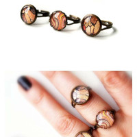 Set of three stackable rings/Bark pattern/Spring jewelry/Photo glass jewelry/Illustrated rings/Combo rings