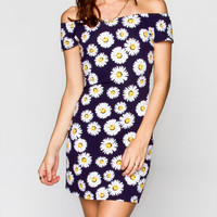 Almost Famous Daisy Marilyn Bodycon Dress Navy  In Sizes
