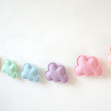 Pastel Rainbow Garland, Cloud Garland, Rainbow Garland, Pastel Nursery Idea, baby decor, Baby Nursery Idea, Product ID: LRZ4360