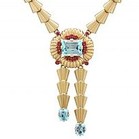 15.84 ct Aquamarine and 1.28 ct Ruby, 14 ct Yellow Gold Necklace by Tiffany & Co - Vintage Circa 1950