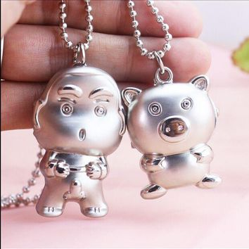 Free Shipping Bronze Bear cartoon pig Crayon small new  Design Quartz Pendant Necklace Pocket Watch Gift To Children Kids