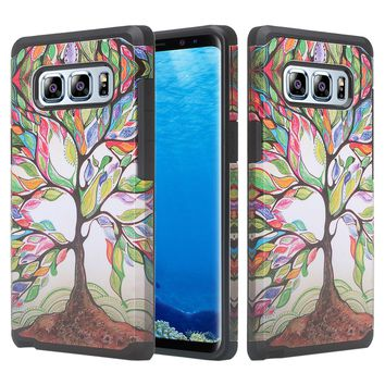 Samsung Galaxy Note 8 Case, Galaxy Note 8 Slim Hybrid Dual Layer[Shock Resistant] Case for Galaxy Note 8 - Vibrant Tree