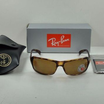 Kalete RAY-BAN POLARIZED SUNGLASSES RB4075 642/57 TORTOISE FRAME/BROWN LENS NEW! 61MM
