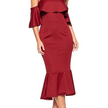 Burgundy Off Shoulder Ruffled Cocktail Dress