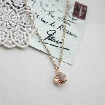 Peach Pear, Glass Tear Drop Necklace.Blush Champagne Peach Stone Glass Pendant.  Bridesmaid Gift. Bridal Wedding Jewelry. Peach Wedding. BFF