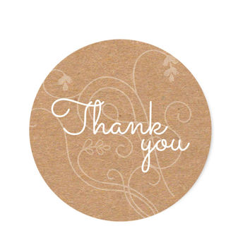 90 Thank You Kraft and White Stickers, 1.5 Inch