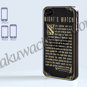 Game Of Thrones Nights Watch - iPhone 4 case - iPhone 4S case - Samsung Galaxy S3/S4 - iPhone case - Hard Plastic - Case Soft Rubber Case