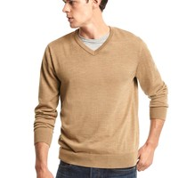 Merino wool V-neck sweater | Gap