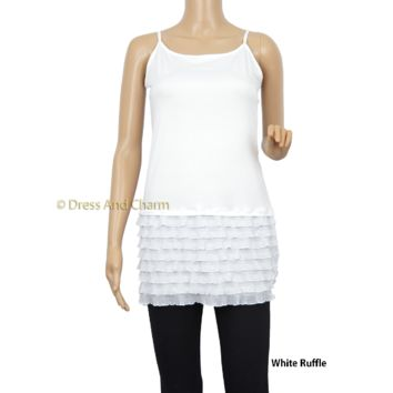 White Ruffle Top Lengthener, Lace Cami Tank, Shirt Extender, Top Extender, Plus Sizes Available