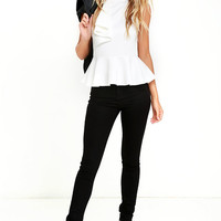Forever More White Peplum Top