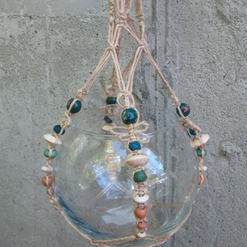 Hanging Macrame Terrarium / Natural Hemp / Lampwork Glass / Frog / Marimo Moss Terrarium / Ready to ship / Boho Decor / Woodland