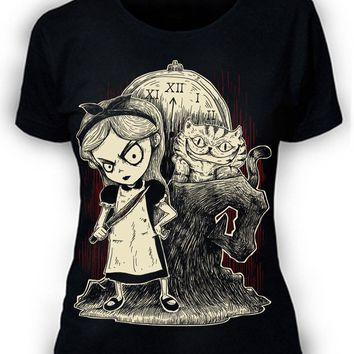 Women's Tee Afterlight Alice In Wonderland T-shirt Womens Ladies Goth Punk Rock Fantasy Printed Funny