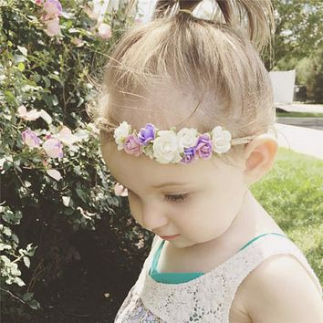 Baby Flower Crown Headband Tieback Headband Newborn Photo Prop Headband Girls Flower Crown Hair Accessories