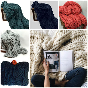 """Chunky Knit Blanket, COLOR, 32x54"""" Pure Merino Wool, knit blanket, chunky throw, giant knitting"""