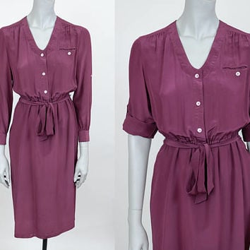 Vintage 80s Dress / 1980s Burgundy Wine Silk Minimalist Roll Tab Sleeve Shirt Dress S