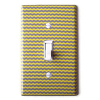 Yellow & Gray Mini Chevron Single Toggle Switchplate Switch Plate