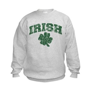 Worn Irish Shamrock Kids Sweatshirt