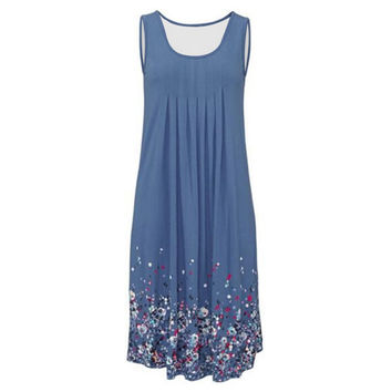 Hot Selling Fashion Floral Print Sleeveless Beach Dress for Pregnant Women 3 Color Choose Plus Size Maternity Sundress