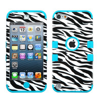 iPod Touch 5th / 6th Gen - Teal Blue Zebra Armor Hard & Soft Rubber Hybrid Case