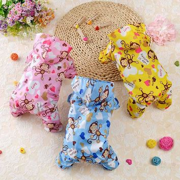 "Fashion ""Monkey"" Printed Dog Raincoat Acrylic Puppy Waterproof Coat with Hooded Mesh Pet Clothes for Small Dogs Hot Pet Supplies"