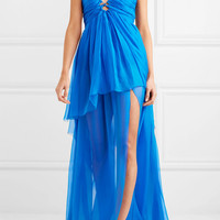 Dundas - Cutout tiered silk-chiffon gown