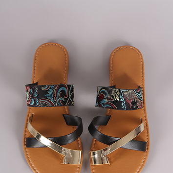 Bamboo Satin Embroidery Strappy Toe Ring Flat Slip On Sandal