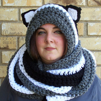 Cat Scarf Animal Scarf  Hooded Scarf with ears Cat Hooded Scarf Scoodie Snoodie Cat Scoodie Kitty Scarf Kitty Hat Kitty Cowl Kitty