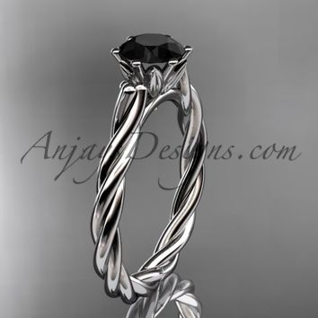 Platinum rope engagement ring with a Black Diamond center stone RP835