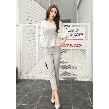 Women business suits formal  strench suits work uniform designs Women top and cropped pant 2 piece set