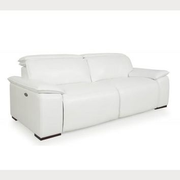 Yorbita motorized sofa pure white full leather