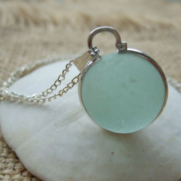 Sea glass codd marble necklace in silver plated bezel band,sea glass marble necklace, bezel set beach marble, silver sphere marble, sterling